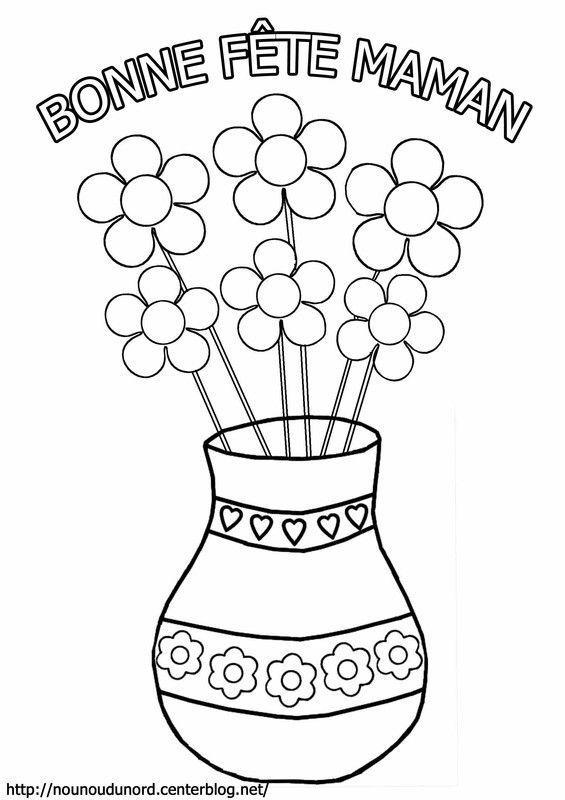 Coloriage les fleurs dans un vase pour la f te des m res - Coloriage fleurs maternelle ...