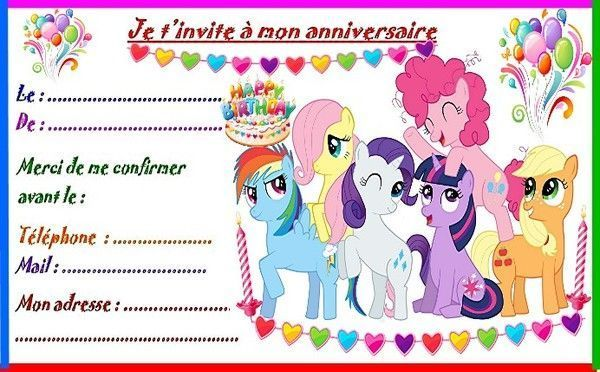 etiquettes et invitations little pony pour anniversaire. Black Bedroom Furniture Sets. Home Design Ideas