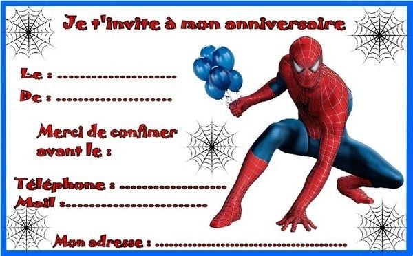 etiquettes et invitations spiderman pour anniversaire. Black Bedroom Furniture Sets. Home Design Ideas