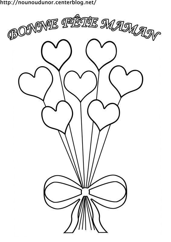Coloriage bouquet de coeur bonne f te maman - Dessin bonne fete maman ...