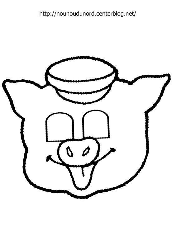Masque Cochon à imprimer dessiné par nounoudunord