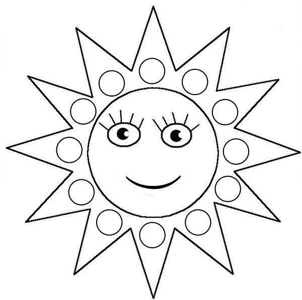 Coloriage à gommettes le soleil dessiné par nounoudunord.