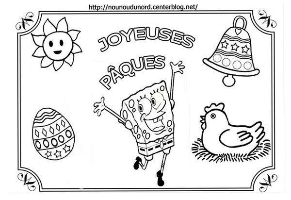 Coloriage Tableau De Pâques Bob L'éponge