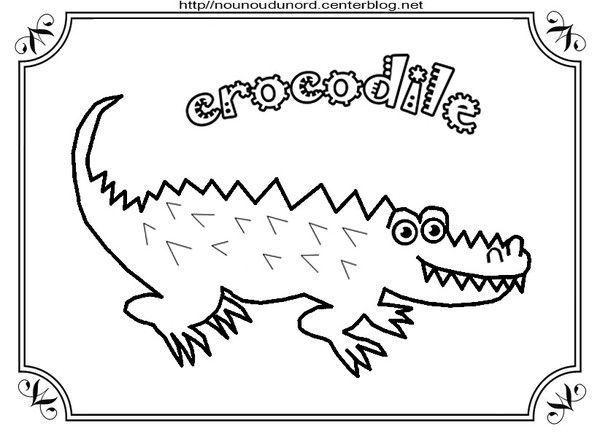 Coloriage crocodile et pour gommettes - Dessin anime crocodile ...