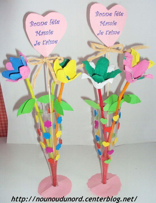 Fleurs pour la f te des mamies - Comment faire des fleurs avec des boites a oeufs ...