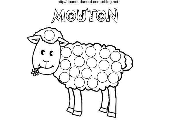 Mouton coloriage et gommettes en couleur - Mouton dessin ...