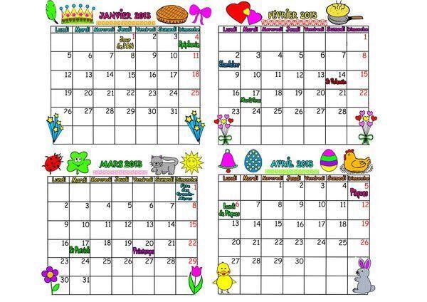 calendrier 2015 sur 4 mois de janvier à avril