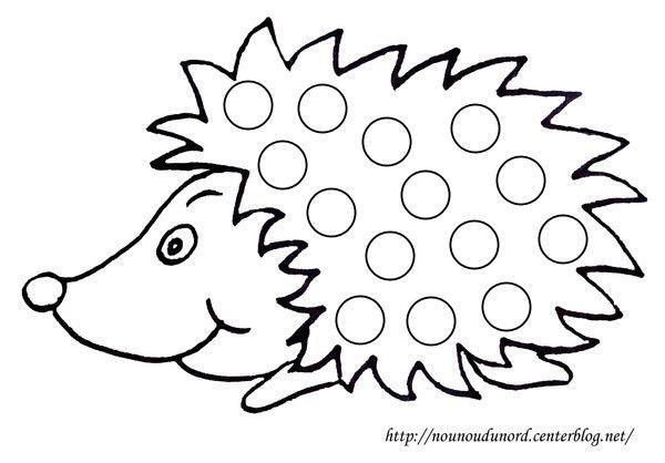 Coloriage gommettes le h risson dessin par nounoudunord - Herisson coloriage ...