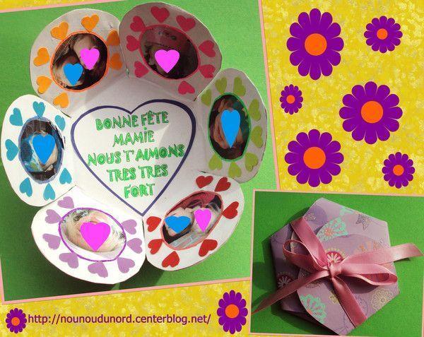 Carte fleur porte  photo pour la fête des mamies