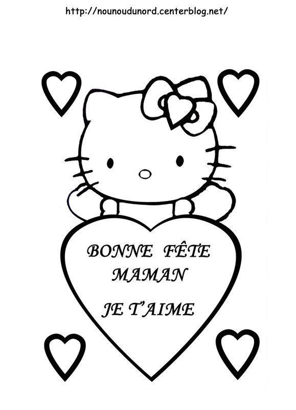 Coloriage hello kitty f te des m res par nounoudunord - Coloriage hello kitty coeur ...