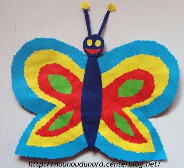 Papillon r alis avec les ciseaux fantaisie bricolage - Papillon maternelle ...