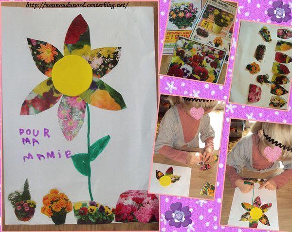Cadeau pour la mamie de Lison collage de fleurs de magazine