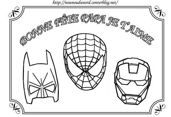 Coloriage Spiderman Batman Pour La Fete Des Peres