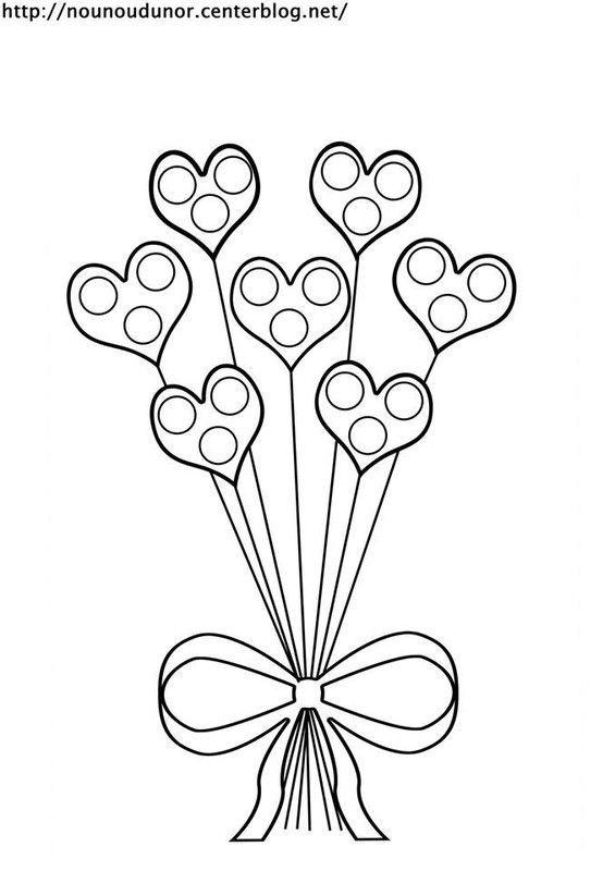 Bouquet de coeurs gommettes coloriage couleur - Dessin avec des coeurs ...