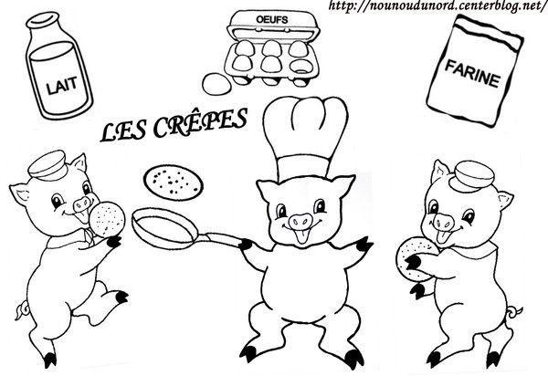 Coloriage des 3 petits cochons qui font des crepes - Dessin anime les 3 petit cochons ...