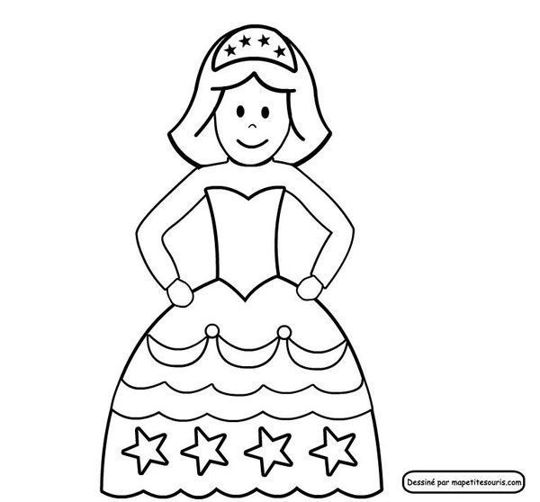 Coloriage et gabarit de la princesse ou la reine - Princesse dessin ...