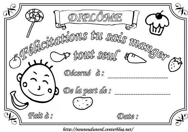 Diplôme à Colorier Pour Féliciter L Enfant De Manger Seul