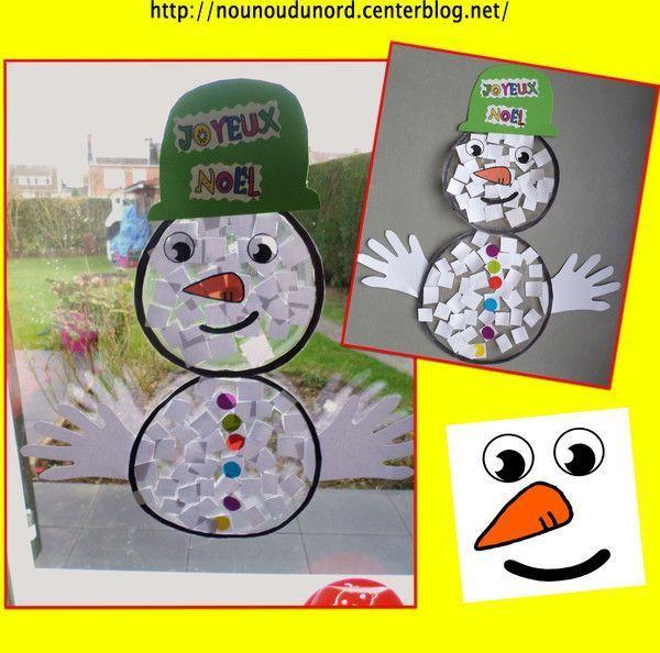 Gabarit du bonhomme de neige pour d coration de fen tre for Decoration fenetre maternelle