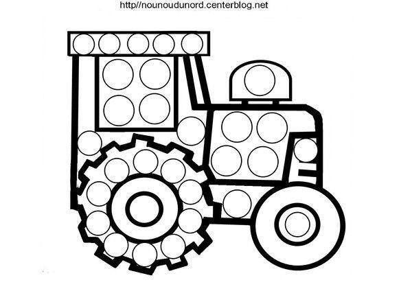 Coloriage a gommettes page 2 - Dessin a imprimer de tracteur ...