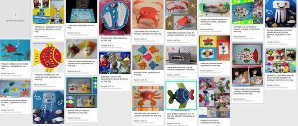 créations poissons, mer sur une seule page