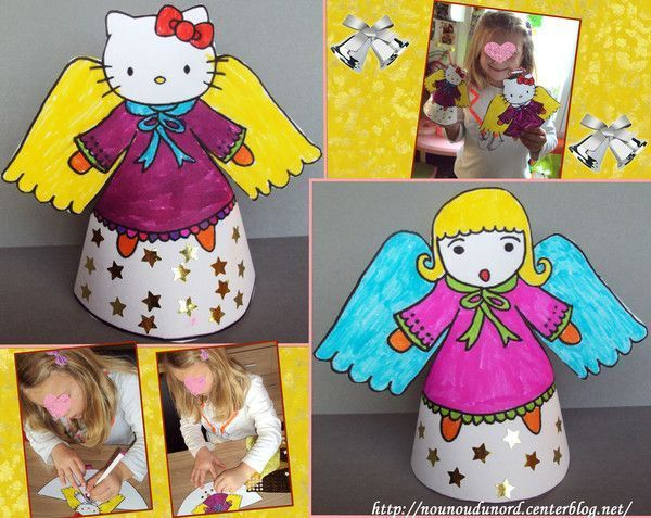 coloriages en cône d'hello kitty et d'un ange