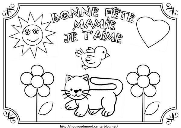 Coloriage bonne fête mamie illustrée par nounoudunord.