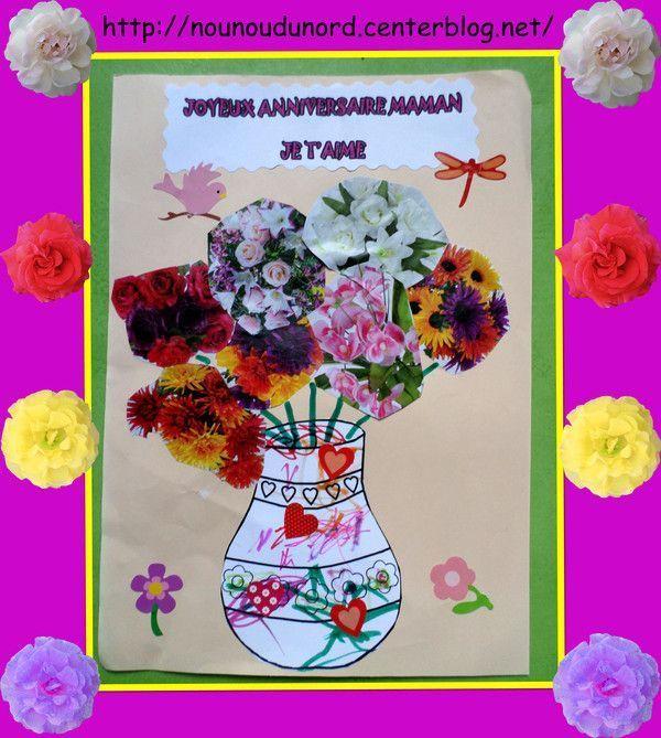 vase rempli de fleurs pour la maman d'Arthur