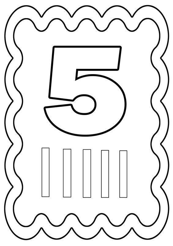 Coloriage chiffre 5 dessiné par nounoudunord