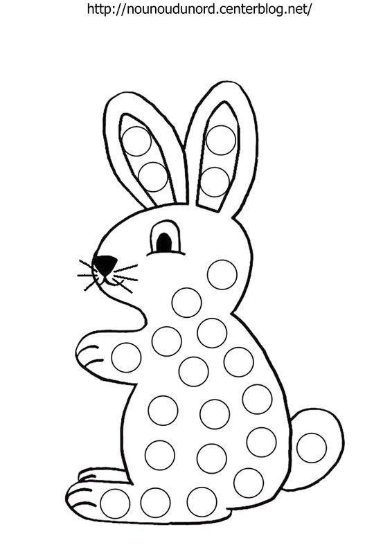 Coloriage à gommettes le lapin dessiné par nounoudunord