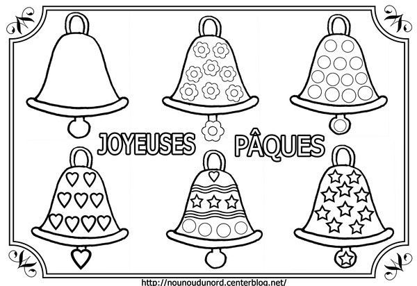 Coloriage cloches de p ques - Coloriage de paque ...