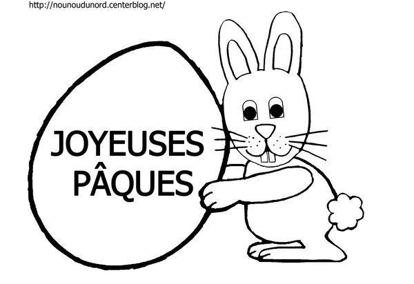 Coloriage lapin de p ques dessin par nounoudunord - Dessin de paques facile a faire ...