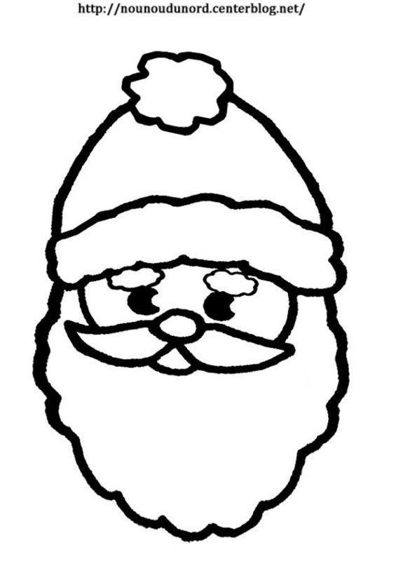 Tête Père Noël Coloriage Gommettes Ou Le Visage De Lenfant