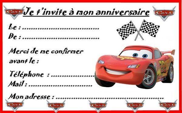 Populaire invitations Cars pour anniversaire NJ39