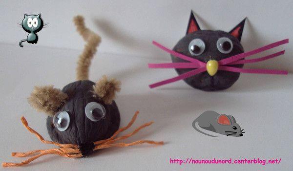 Le chat et la souris réalisés avec les coquilles de noix
