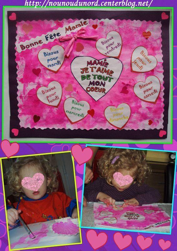 Tableau de bisous coeurs réalisé par Soline pour sa mamie
