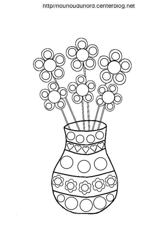 Vase avec fleurs coloriage couleur pour les gommettes - Les fleurs coloriage ...