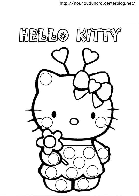 Coloriage a gommettes page 5 - Coloriage hello kitty a colorier ...