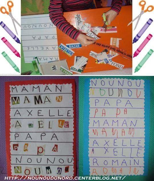 Axelle 4 ans découpe des lettres pour les coller