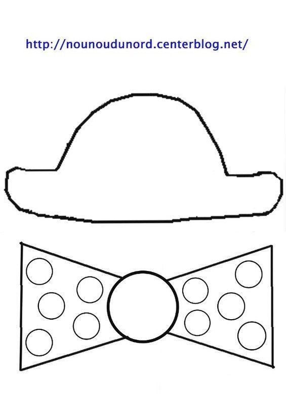 Coloriage chapeau et noeud et gommettes gif noeud - Noeud coloriage ...