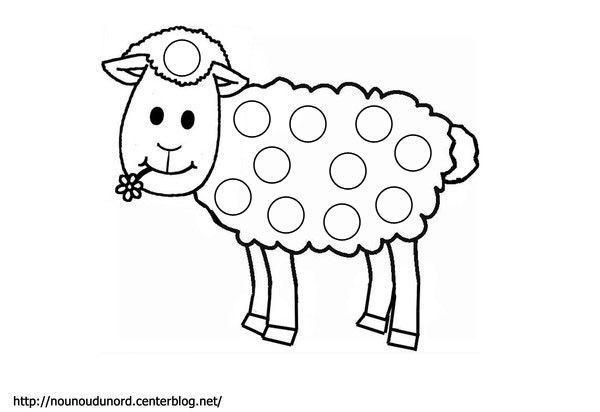 Coloriage à gommettes mouton dessiné par nounoudunord.
