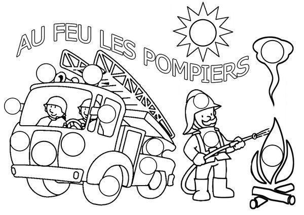 Coloriage pompier gommettes - Coloriage camion de pompier ...
