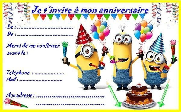 etiquettes et invitations minion pour les anniversaires. Black Bedroom Furniture Sets. Home Design Ideas