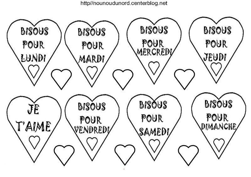 Coloriage coeurs st valentin - Dessin de bisous ...