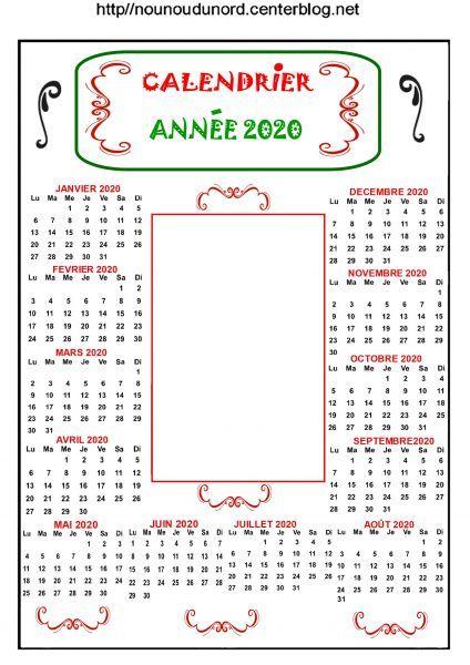 calendrier annuel 2020 pour ajouter 1 photo ou autre