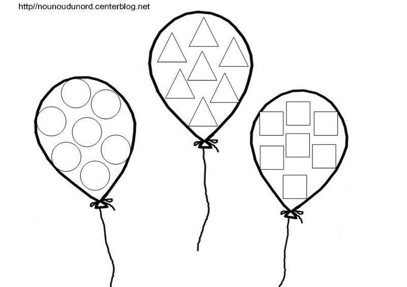 Coloriage Par 3 Ballons A Gommettes En Couleur