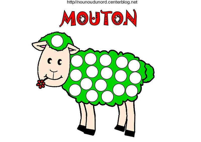 Mouton coloriage et gommettes en couleur - Dessin mouton rigolo ...