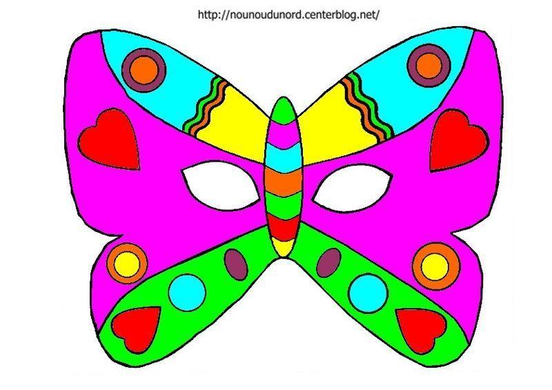 Masque papillon colorier - Masque de carnaval a imprimer ...