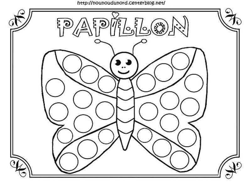 papillon coloriage pour gommettes en couleur. Black Bedroom Furniture Sets. Home Design Ideas