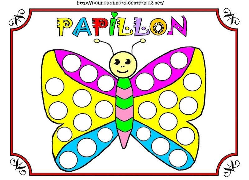 Papillons gommettes coloriages et en couleur - Papillon dessin couleur ...
