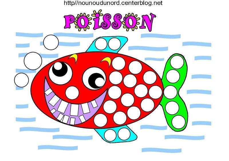 Poisson qui rit colorier pour gommettes et en couleur - Poisson dessin couleur ...